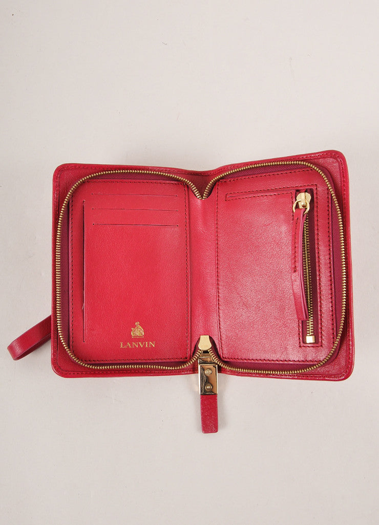 Lanvin Magenta Leather Wristlet Interior