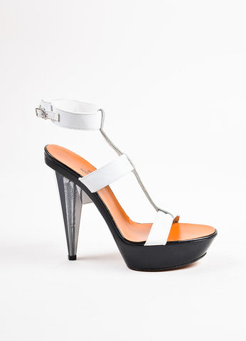 Lanvin White and Black Leather Lucite Heel Open Toe Platform Sandals Sideview