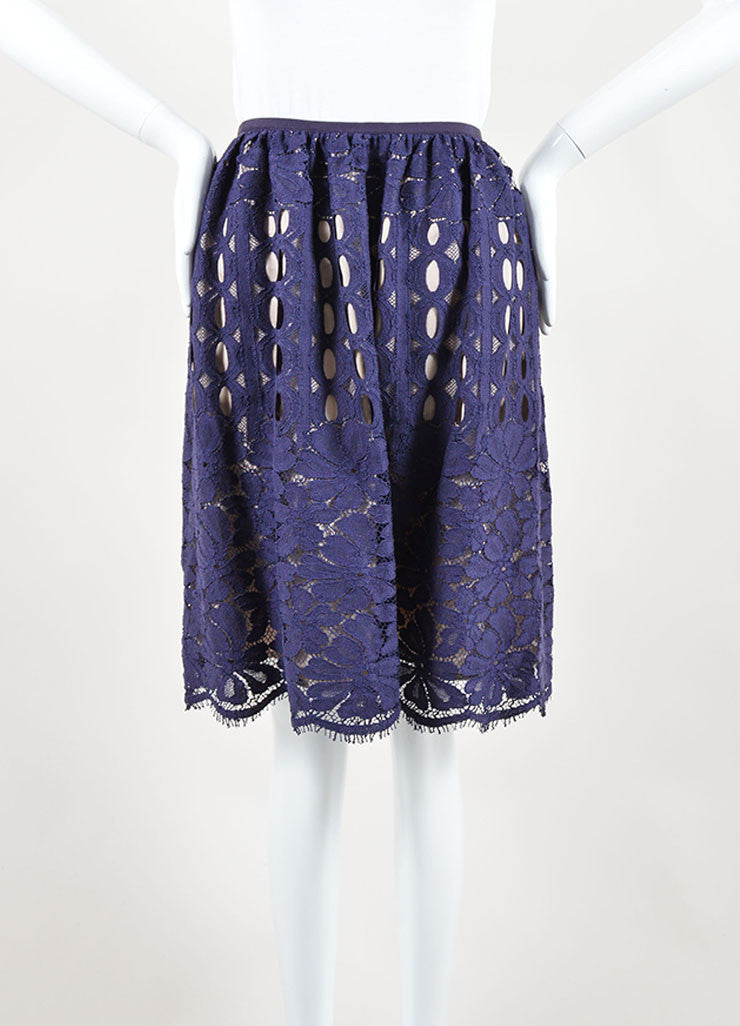Lanvin Navy Nude Cotton Silk Eyelet Lace Scalloped A Line Skirt Front