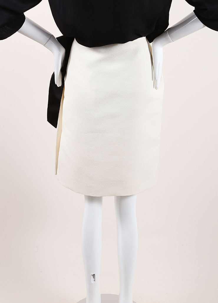 Lanvin New With Tags Cream and Black Textured Knit Oversized Bow Pencil Skirt Backview