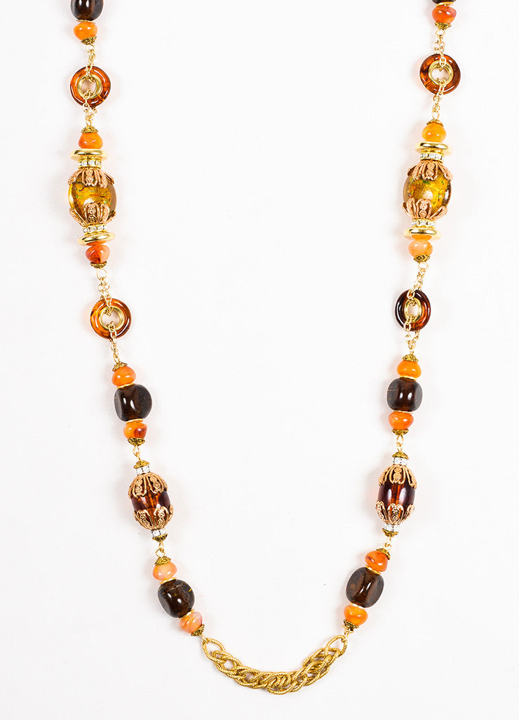 Lawrence VRBA Gold Toned Orange Amber Beaded Rhinestone Chain Necklace Detail