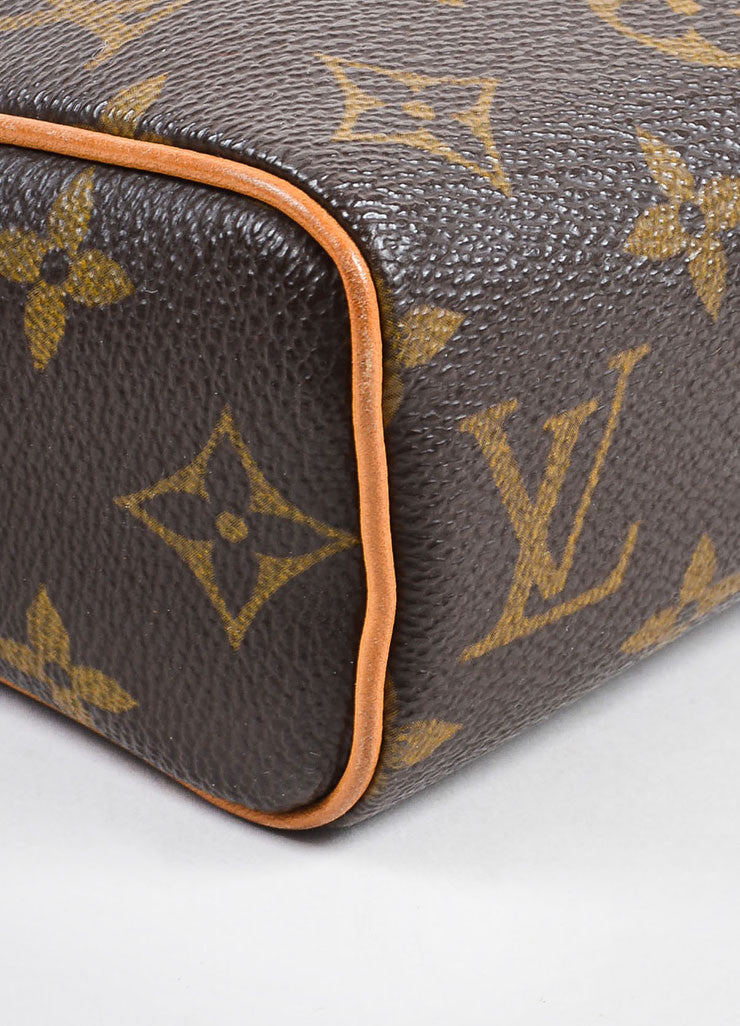 "Louis Vuitton Brown and Tan Coated Canvas Monogram ""Recital"" Shoulder Snap Bag Detail"