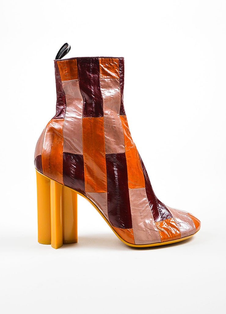 "Louis Vuitton Multicolor Eel Leather ""Instinct"" Patchwork Boots Sideview"