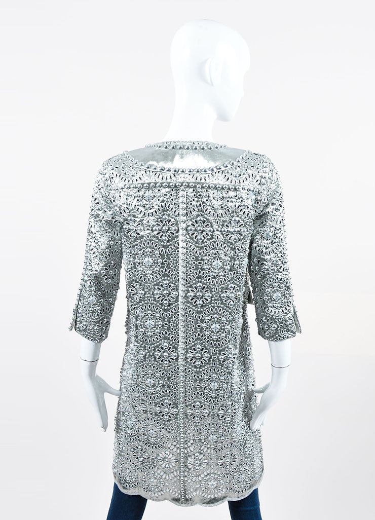Silver Metallic Marc Jacobs Eyelet Embellished Mid Sleeve Coat Backview
