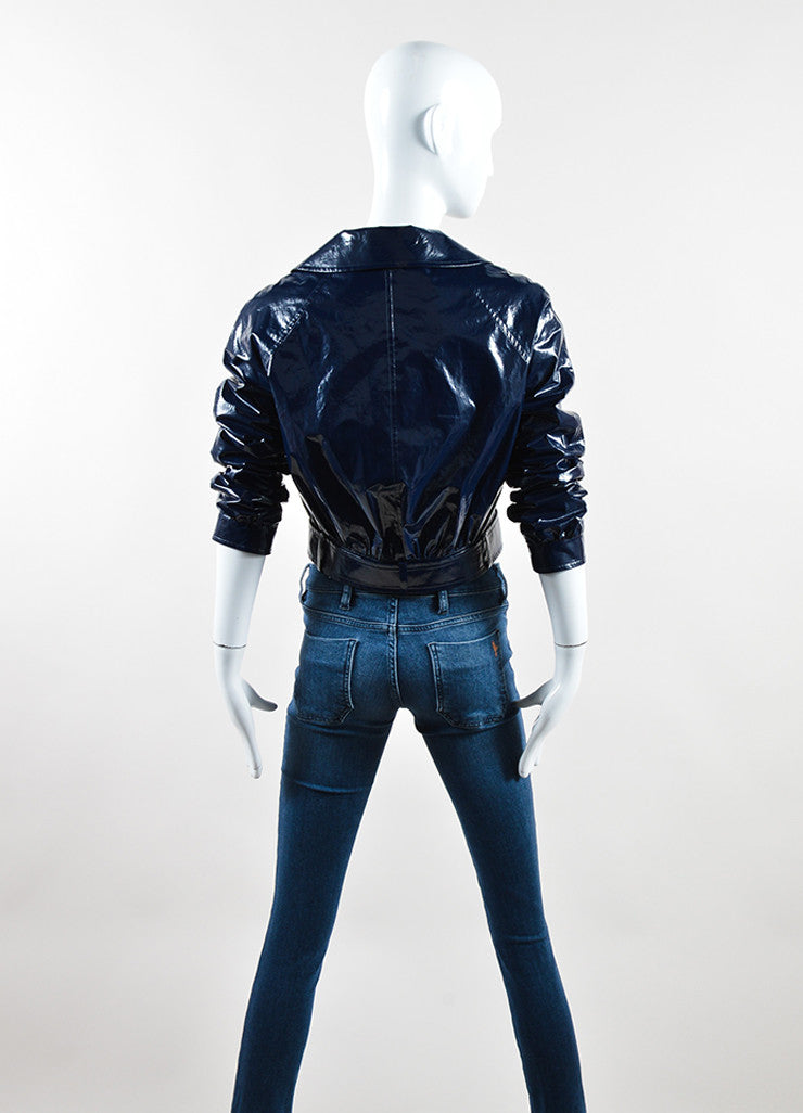 Martin Grant Navy Blue Patent Belted Cropped Jacket Backview