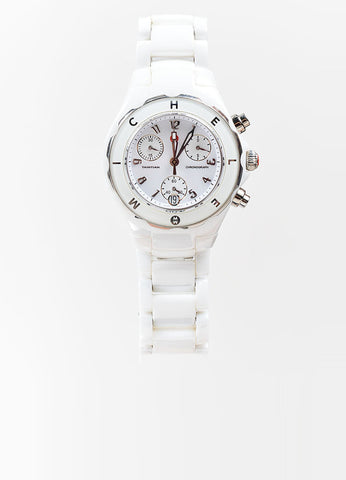 "White Ceramic and Stainless Steel Michele ""Tahitian"" Chronograph Bracelet Watch Frontview 2"