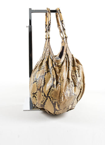 Miu Miu Brown and Beige Python Leather Hobo Bag Sideview