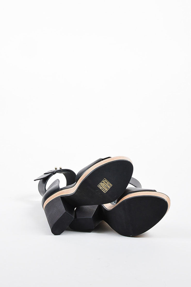 Pierre Hardy Black Leather and Wood Ankle Strap Heel Sandals Outsoles