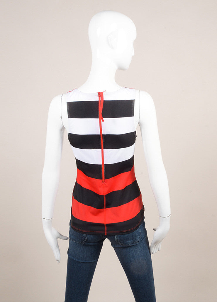 Pret a Surf New With Tags Black, Red, and White Stripe Rashguard Swim Tank Top Backview