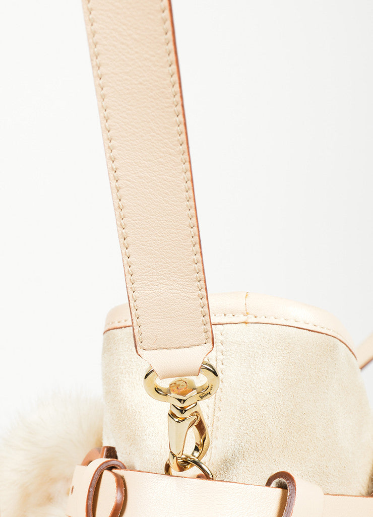 Beige Salvatore Ferragamo Suede and Mink Fur Handle Shoulder Bag Detail 2