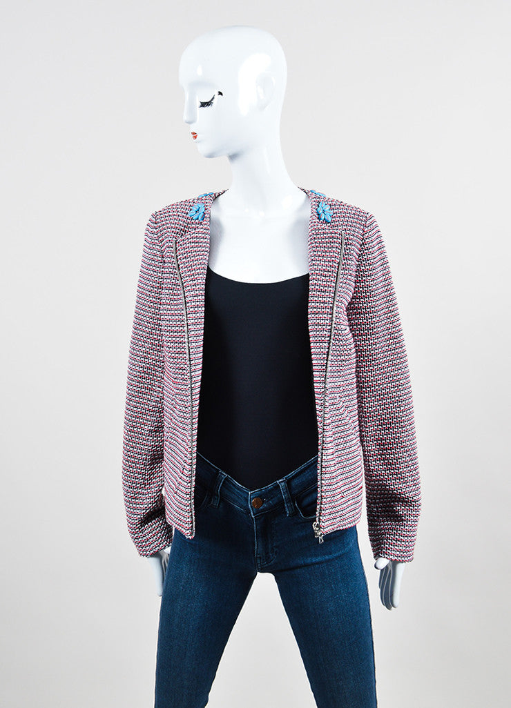 Red and White Thakoon Knit Beaded Collar Zip Tweed Jacket Frontview