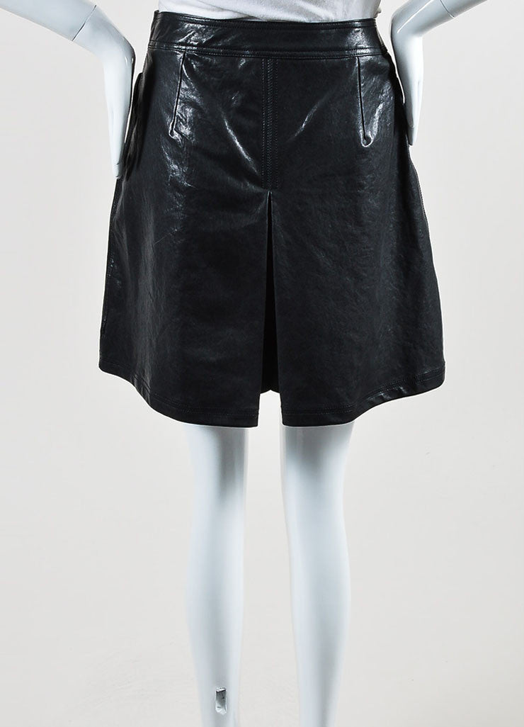 Black Tomas Maier Coated Leather Pleated Skort Backview