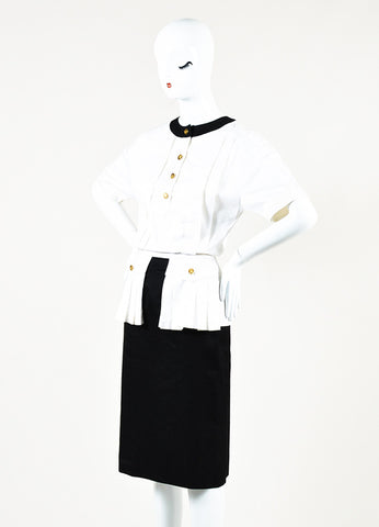Chanel Boutique White Black Pleated Button Up Short Sleeve Dress Front