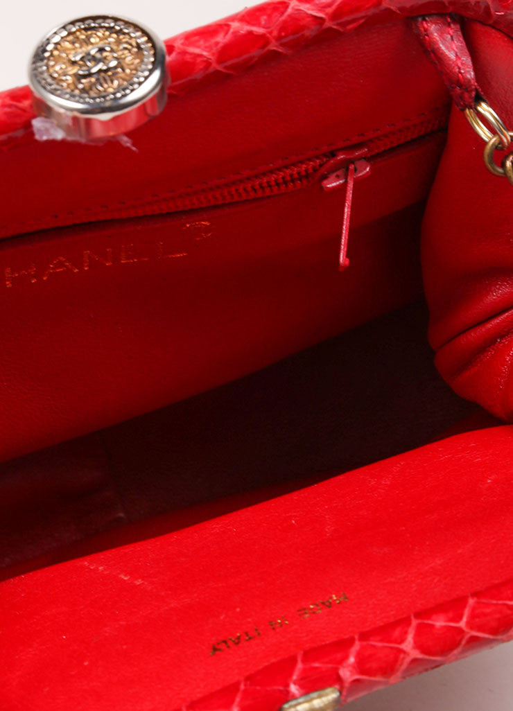 Chanel Red Python Clutch Bag  Interior