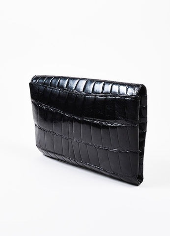 Titti Dell'Acqua Black Alligator Leather Flap Clutch Bag Sideview