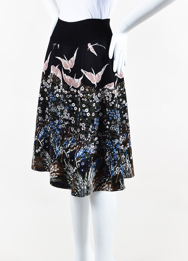 Black and Multicolor Valentino Knit Flower Bird Intarsia Circle Skirt Side