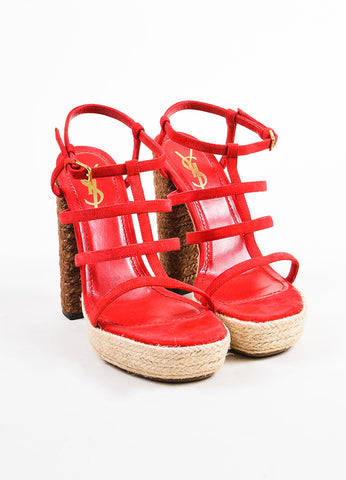 "Yves Saint Laurent Red and Brown Suede ""Gipsy"" Espadrille Platform Sandals Frontview"