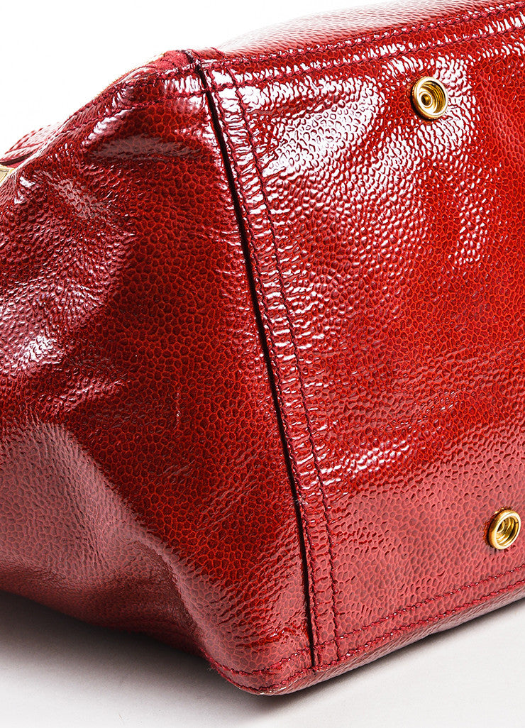 "Yves Saint Laurent Rive Gauche Red Patent Leather Small ""Downtown"" Bag Detail"