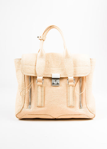 "3.1 Phillip Lim ""Buff"" Beige Grained Leather Medium ""Pashli"" Flap Satchel Bag Frontview"