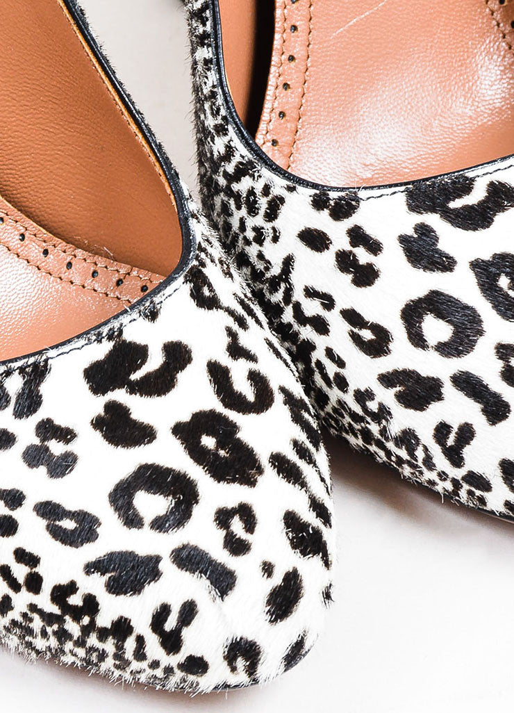 Brown and White Alaia Haircalf and Leather Leopard Print Tower Pumps Detail