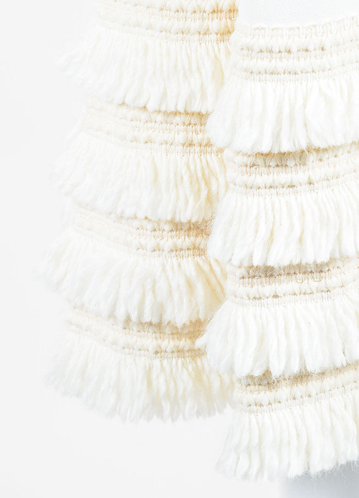 Cream Andrew Gn Virgin Wool Tiered Fringe A-Line Skirt Detail