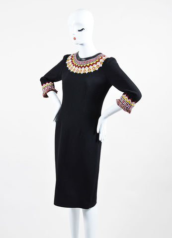 Andrew Gn Black and Multicolor Wool Three Quarter Length Sleeve Dress Sideview