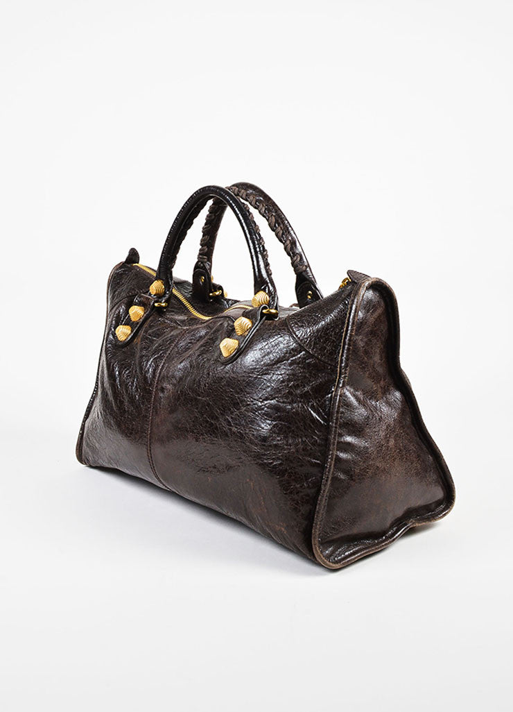 "Balenciaga Dark Brown Leather Distressed GHW ""Giant 21 Work"" Bag Sideview"