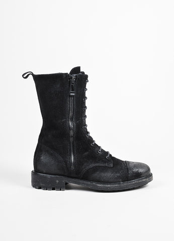 "Belstaff Black Waxed Suede Lace Up Double Zip Cap Toe ""Combat"" Boots Sideview"
