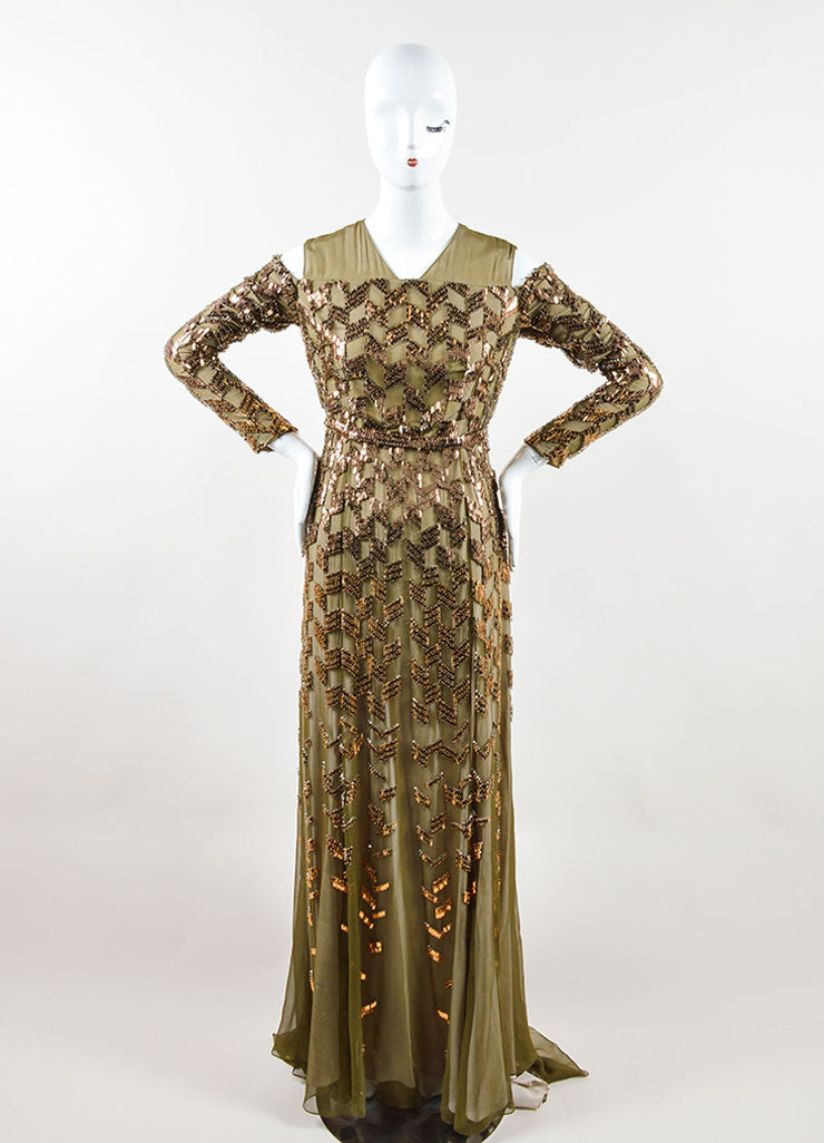 Bibhu Mohapatra Olive Copper Embellished Long Sleeve Gown Frontview