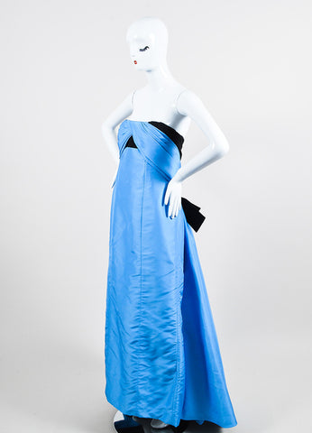 Blue and Black Carolina Herrera Silk Embellished Bow Strapless Gown Sideview