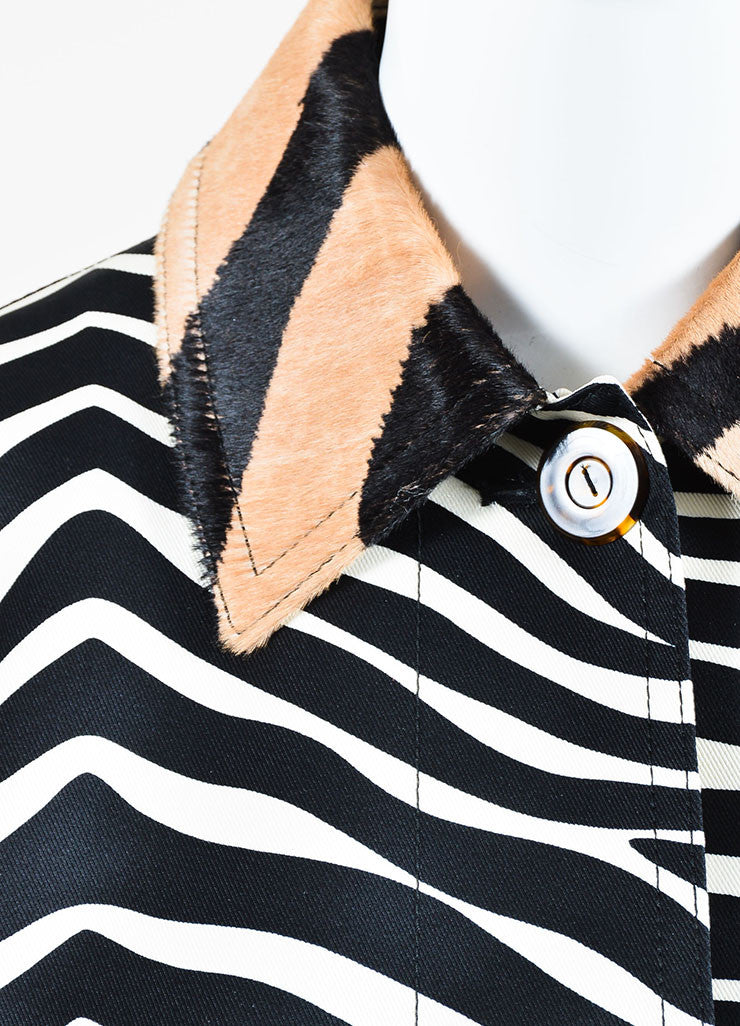 Celine White, Black, and Tan Zebra Striped Pony Hair Collar Jacket Detail