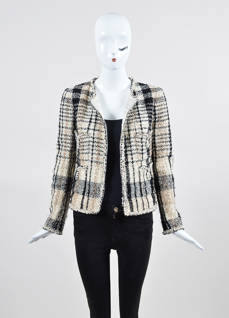 Cream and Black Chanel Plaid Tweed Frayed Zip Up Scarf and Jacket Set Frontview 2