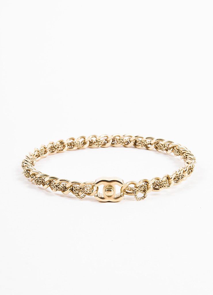 Gold Toned Chanel 'CC' Logo Curb Chain Bangle Bracelet Back