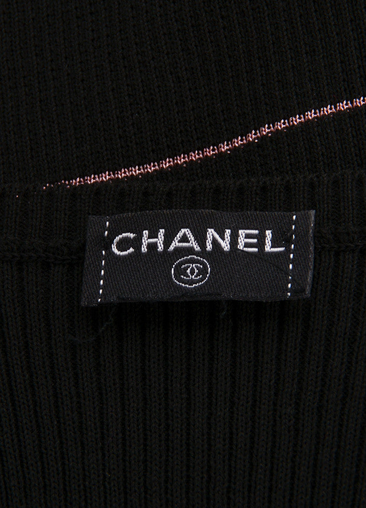 "Chanel Black and Pink Striped Ribbed Knit ""CC"" Sheer Panel Tank Top Brand"