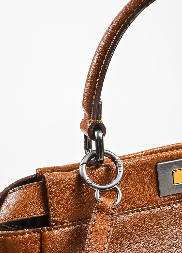 "Fendi Brown Leather Small ""Peekaboo"" Bag Detail 2"