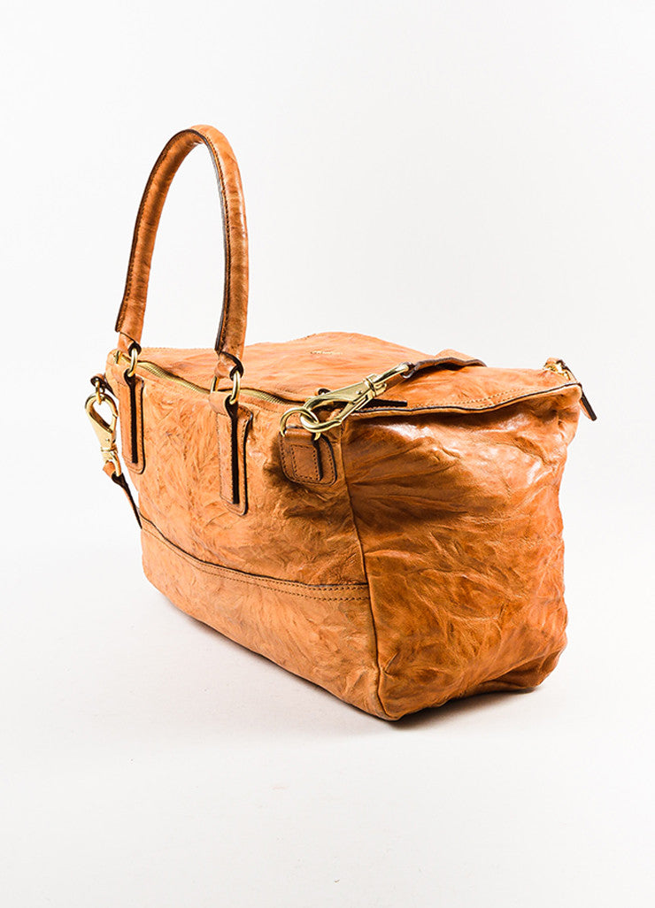 "Givenchy Tan Wrinkled Leather ""Large Pandora"" Shoulder Bag Sideview"