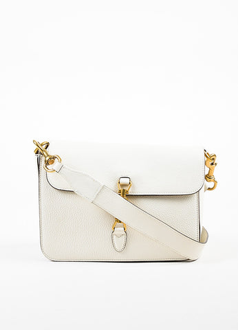 "Gucci Cream Soft Grain Leather ""Jackie"" Removable Strap Shoulder Messenger Bag Frontview"