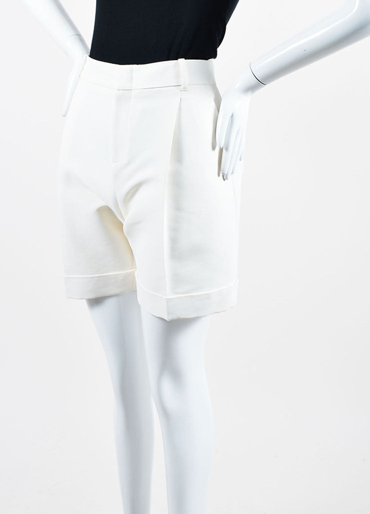 Cream Gucci Cuffed Bermuda Shorts Sideview