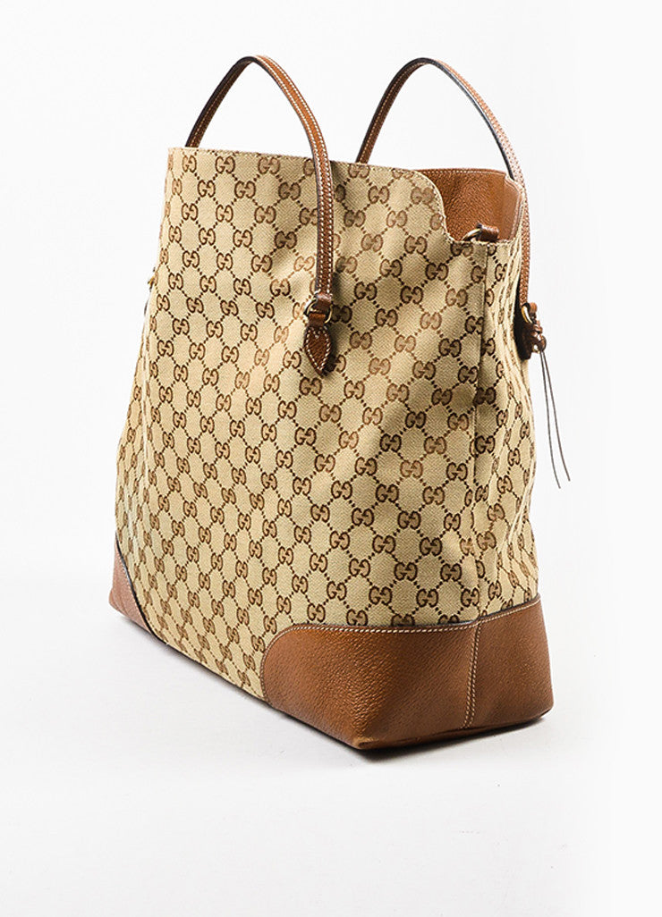 "Gucci Tan and Brown Canvas Leather Monogram ""Bree"" Carryall Shoulder Strap Tote Bag Sideview"