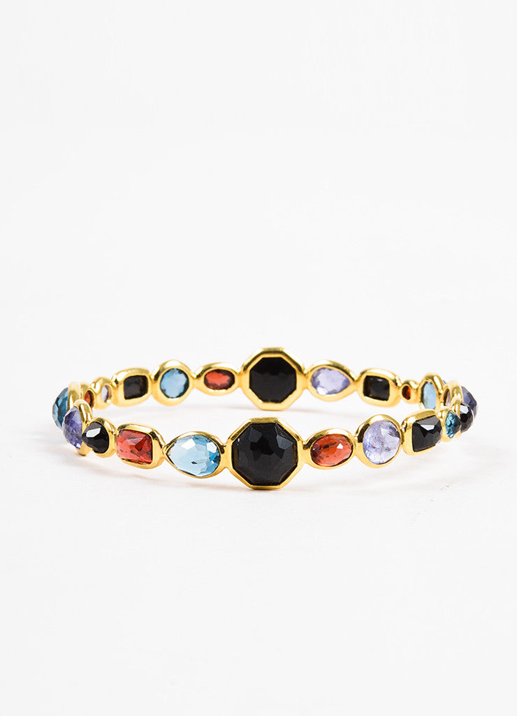 "Ippolita 18K Yellow Gold Multicolor Gemstone ""Rock Candy"" Bangle Bracelet Backview"