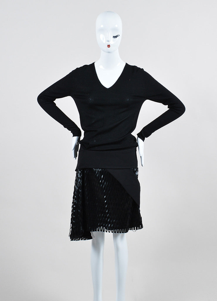 Black Jay Ahr Wool Laser Cut Faux Leather Dress Frontview