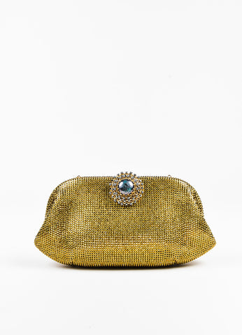 Judith Leiber Gold Rhinestone Crystal Jewel Clasp Clutch Bag Frontview