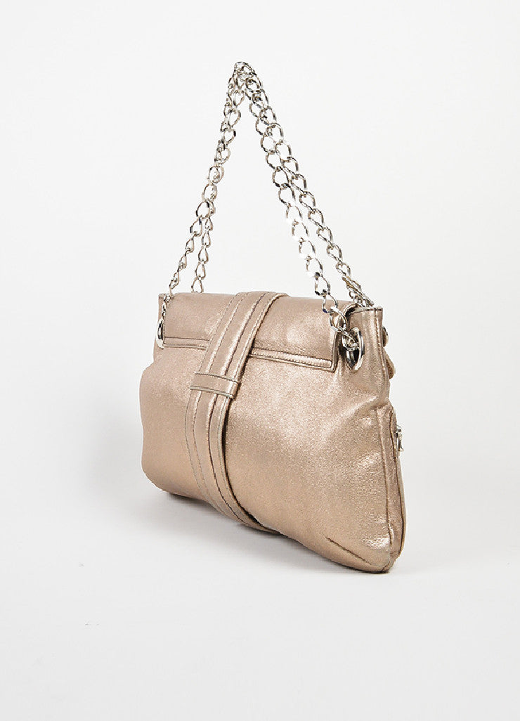 "Metallic Gold Leather Lanvin ""Hero"" Shoulder Bag Sideview"