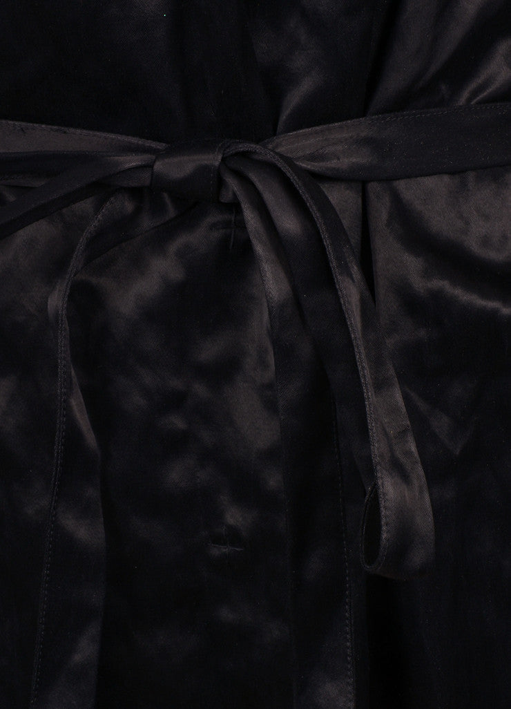 Lanvin Black Cotton Blend Buttoned and Belted Trench Coat Detail