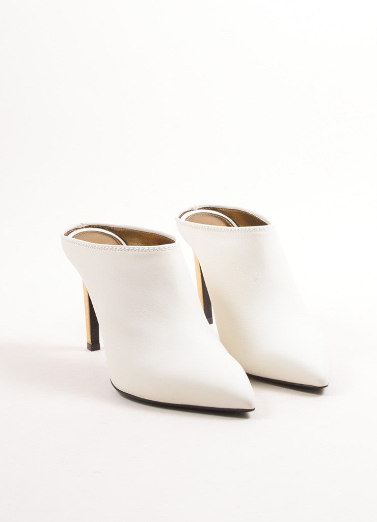 Lanvin White and Gold Calfskin Leather Pointed Toe Mules Frontview
