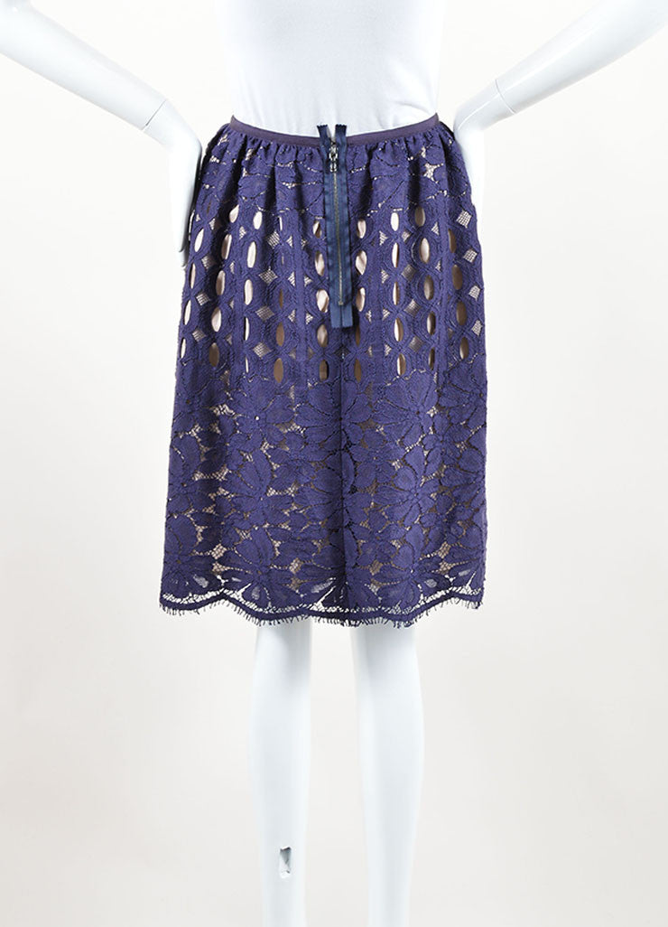 Lanvin Navy Nude Cotton Silk Eyelet Lace Scalloped A Line Skirt Back