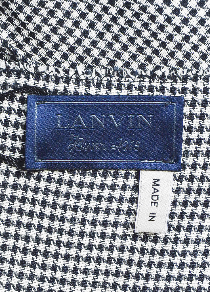 Black and White Lanvin Houndstooth Frayed Hem Sheath Dress Brand