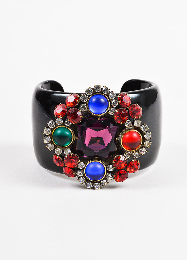 Multicolored Lawrence Vrba Rhinestone Embellished Wide Cuff Bracelet Front