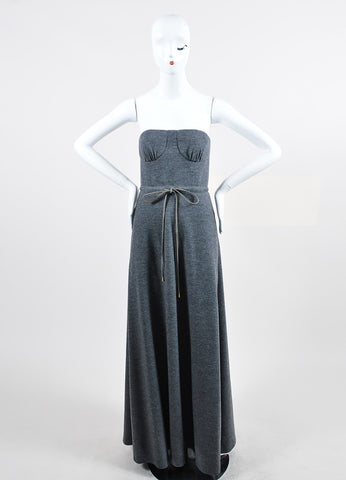 "Grey Lyn Devon Wool and Cashmere Strapless ""New Holly"" Maxi Gown Frontview"