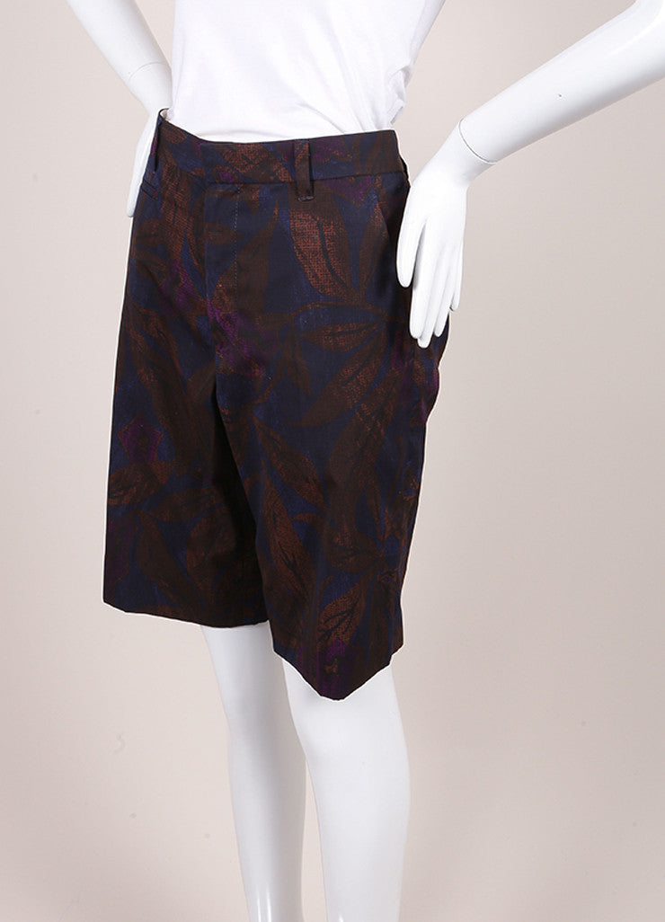 Marc Jacobs New With Tags Brown, Blue, and Purple Leaf Print Cotton Bermuda Shorts Sideview